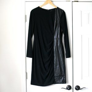 Vince Camuto black stretch faux leather dress